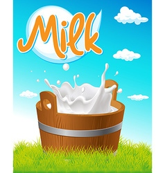Wooden pail with milk tag green grass and blue sky vector