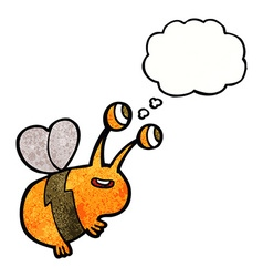 Cartoon happy bee with thought bubble vector