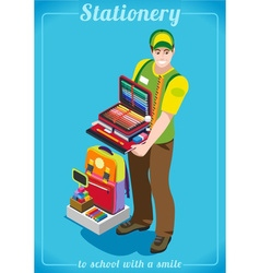 Stationer poster people isometric vector