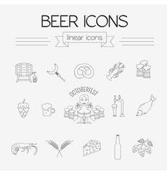 Beer icon set logos and badges template linear vector