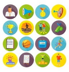 Coaching sport icons flat vector