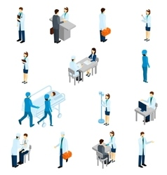 Doctor isometric set vector