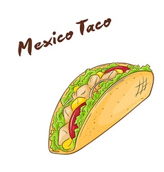 Isolated cartoon hand drawn fast food mexican taco vector
