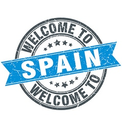Welcome to spain blue round vintage stamp vector