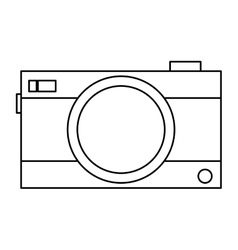 Black line photographic camera vector