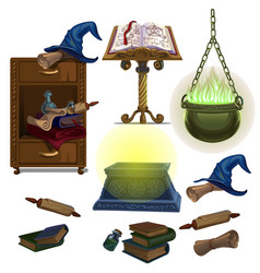 Acculite ancient manuscripts books potion hat vector