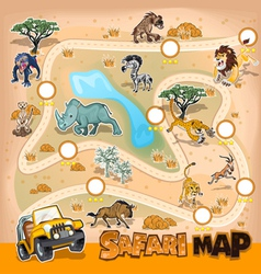 Africa Safari Map Wildlife vector image