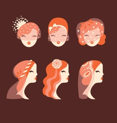 Beautiful brides with different veils and hair vector