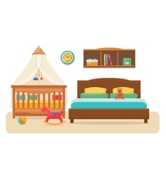 Bedroom with parents bed and baby cot vector