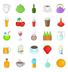 Boozing icons set cartoon style vector