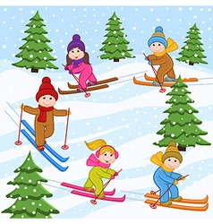 Children skiing on snow mountain vector