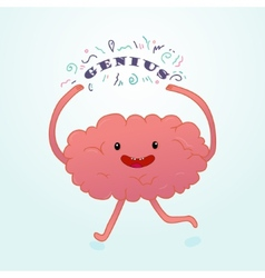 Colorful cartoon brain hand-drawn design print vector image