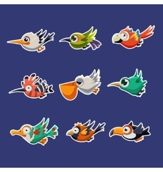 Colourful Flying Birds in Profile vector image vector image