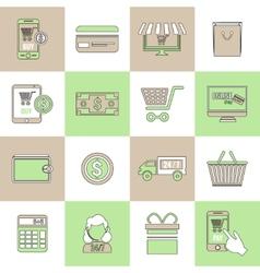 E-commerce icons set flat line vector image vector image