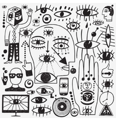 Eyes doodles set vector