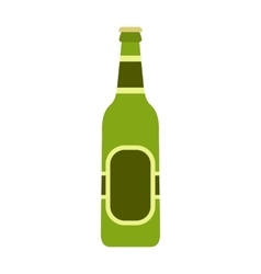 Glass beer green bottle icon flat style vector image