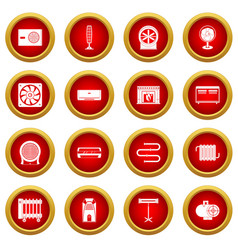 Heating cooling air icon red circle set vector