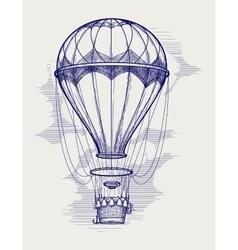 Hot air balloon ball pen sketch vector image vector image