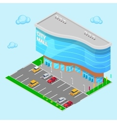 Isometric City Mall Modern Shopping Center vector image