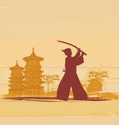 japanese samurai fighter vector image