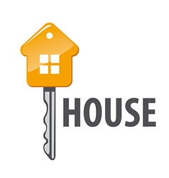 Logo of house in form key vector