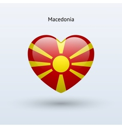 Love macedonia symbol heart flag icon vector