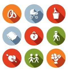 Peoples lives flat icons set vector
