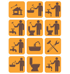 Plumbing work symbol icons set vector