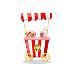 Popcorn cart on wheels food kiosk cartoon vector