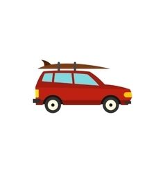 Red car with surfboard icon flat style vector image