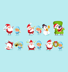 santa claus and his friends having fun icons vector image