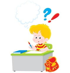 schoolboy writing a test in school vector image vector image