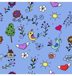 Seamless pattern with hearts birds and flowers vector image