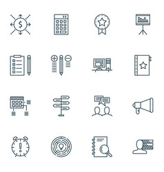 set of 16 project management icons includes vector image vector image