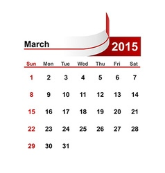 Simple calendar 2015 year march month vector