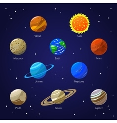 Solar System Planets and Sun vector image vector image