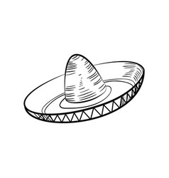 traditional mexican sketch sombrero vector image vector image
