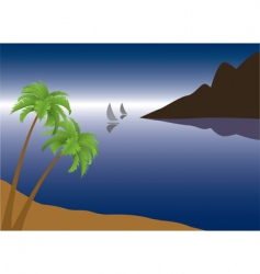 tropical palm beach vector image
