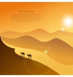 Two camels in desert vector image vector image
