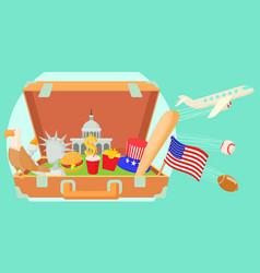 Usa travel horizontal banner cartoon style vector