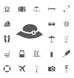 woman hat icon summer set vector image vector image