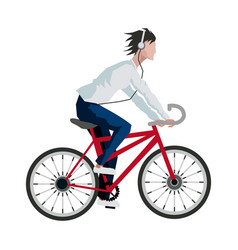 Young man listen music headphones riding bicycle vector