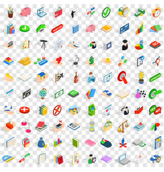 100 right icons set isometric 3d style vector