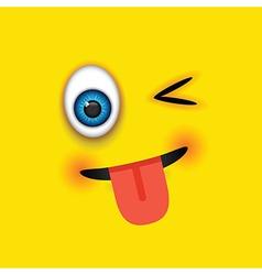 winking tongue out square emoji vector image