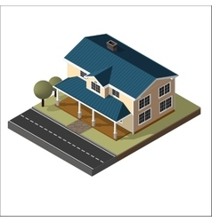 American cottage small wooden house vector