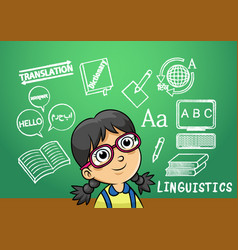 School girl write linguistics sign object in vector