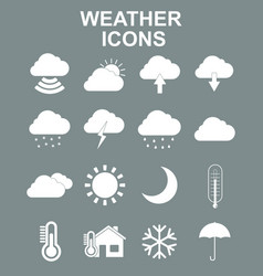Weather forecast and meteorology symbols icons vector