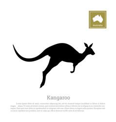 black silhouette of jumping kangaroo vector image