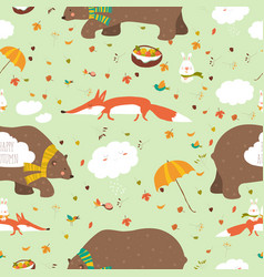 Autumn forest seamless pattern with cute animals vector