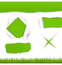 Green torn paper set vector